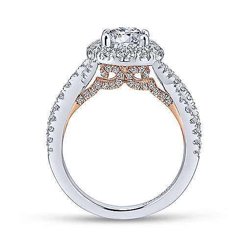 Vanessa 14k White And Rose Gold Round Halo Engagement Ring angle 2
