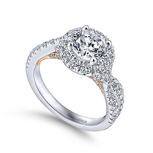 Vanessa 14k White And Rose Gold Round Halo Engagement Ring angle 3