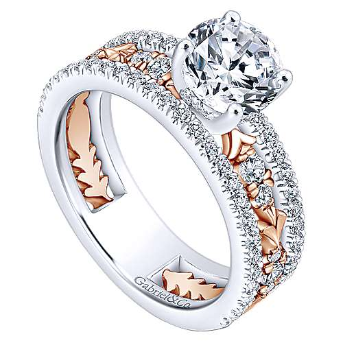 Vanity 18k White And Rose Gold Round Straight Engagement Ring angle 3