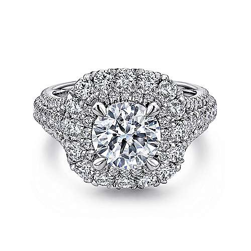 Gabriel - Vanora 14k White Gold Round Halo Engagement Ring