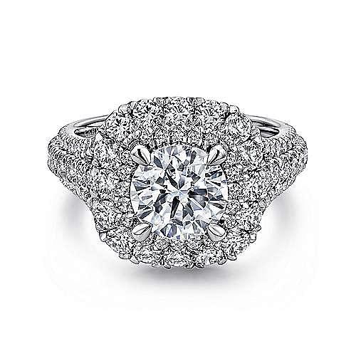 Gabriel - Vanora 18k White Gold Round Halo Engagement Ring
