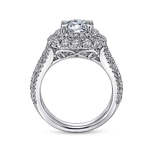 Vanora 18k White Gold Round Halo Engagement Ring angle 2