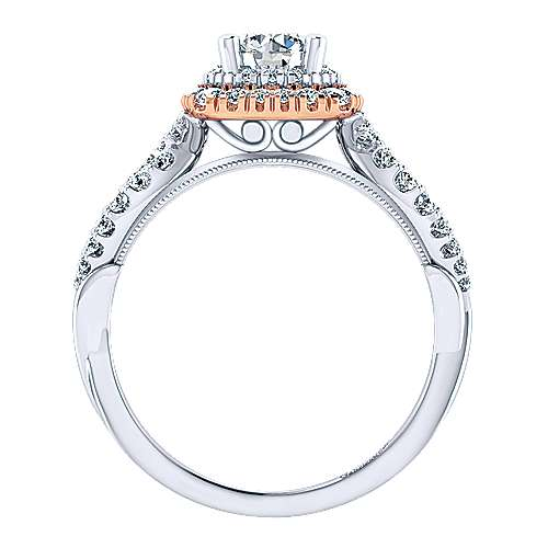 Veda 14k White And Rose Gold Round Double Halo Engagement Ring angle 2