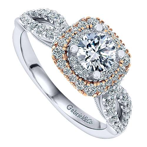 Veda 14k White And Rose Gold Round Double Halo Engagement Ring angle 3