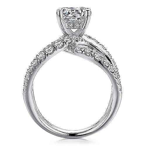 Vega 14k White Gold Round Split Shank Engagement Ring angle 2