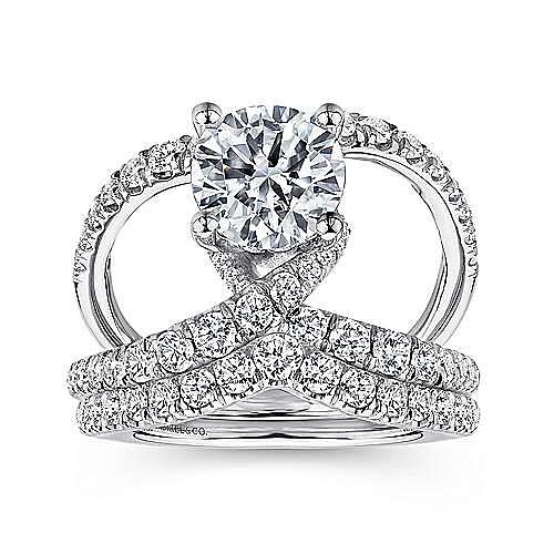 Vega 14k White Gold Round Split Shank Engagement Ring angle 4