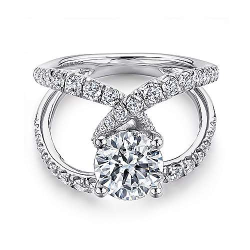Vega 18k White Gold Round Split Shank Engagement Ring angle 1