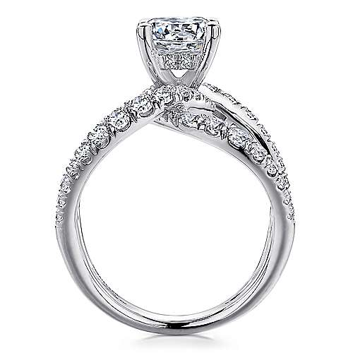 Vega 18k White Gold Round Split Shank Engagement Ring angle 2