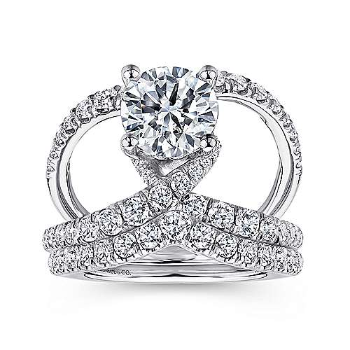 Vega 18k White Gold Round Split Shank Engagement Ring angle 4