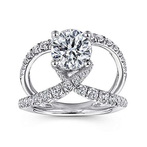 Vega 18k White Gold Round Split Shank Engagement Ring angle 5