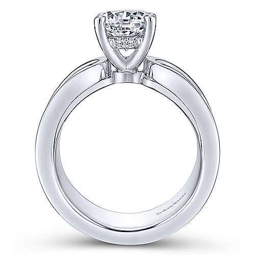 Velma 14k White Gold Round Straight Engagement Ring angle 2