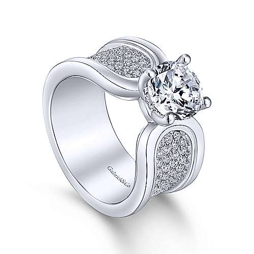Velma 14k White Gold Round Straight Engagement Ring angle 3