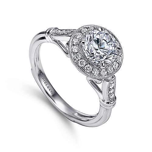 Velvet 18k White Gold Round Halo Engagement Ring angle 3