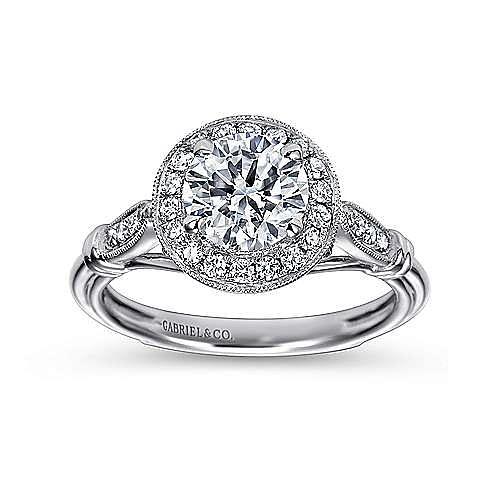 Velvet 18k White Gold Round Halo Engagement Ring angle 5