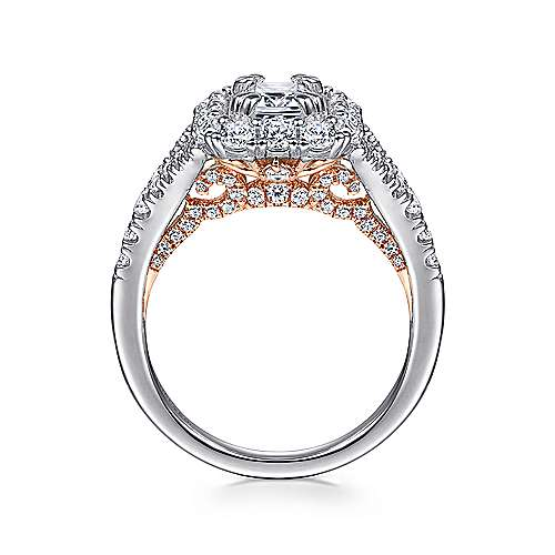 Venetia 14k White And Rose Gold Emerald Cut Double Halo Engagement Ring angle 2