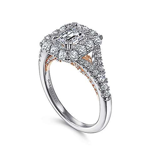 Venetia 14k White And Rose Gold Emerald Cut Double Halo Engagement Ring angle 3
