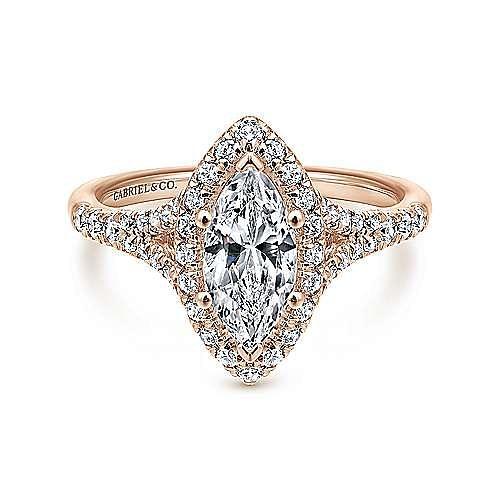 Gabriel - Verbena 14k Rose Gold Marquise  Halo Engagement Ring