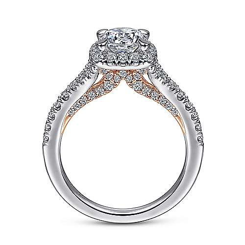 Verbena 14k White And Rose Gold Round Halo Engagement Ring angle 2