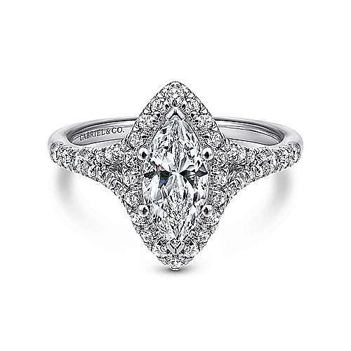 Verbena 14k White Gold Marquise Halo Engagement Ring ER12649M4W44JJ