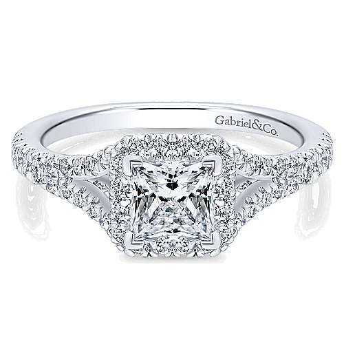 Gabriel - Verbena 14k White Gold Princess Cut Halo Engagement Ring