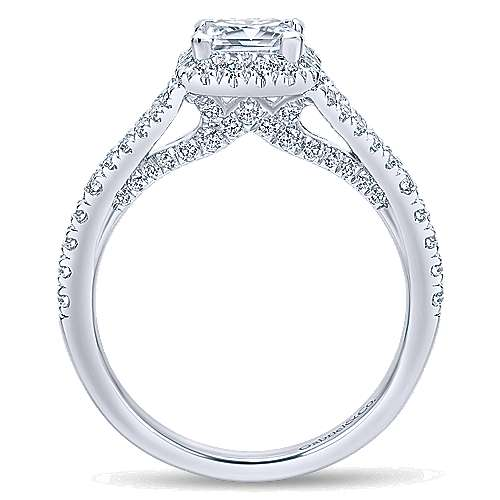 Verbena 14k White Gold Princess Cut Halo Engagement Ring angle 2