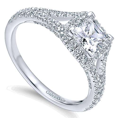 Verbena 14k White Gold Princess Cut Halo Engagement Ring angle 3