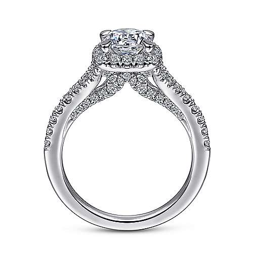 Verbena 14k White Gold Round Halo Engagement Ring angle 2