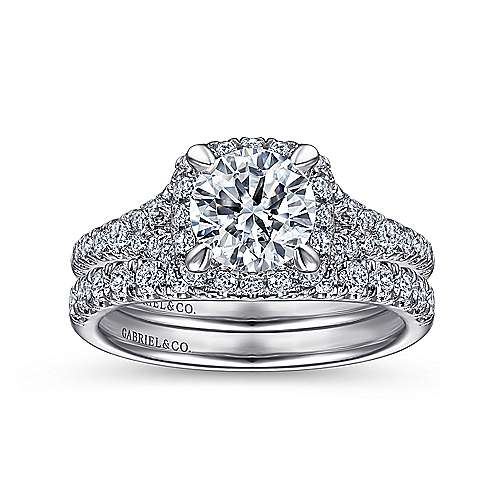 Verbena 14k White Gold Round Halo Engagement Ring angle 4