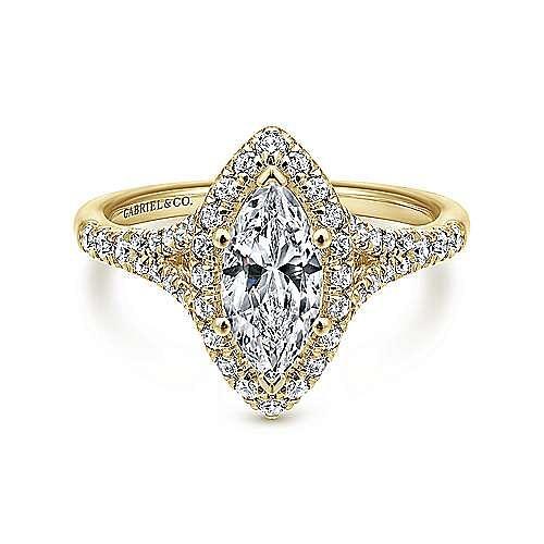 Gabriel - Verbena 14k Yellow Gold Marquise  Halo Engagement Ring