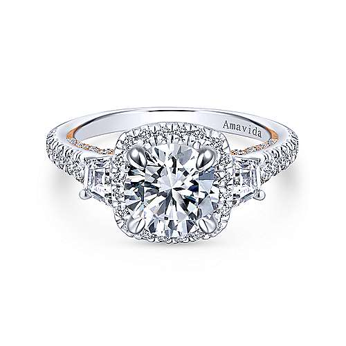 Gabriel - Verline 18k White And Rose Gold Round 3 Stones Halo Engagement Ring