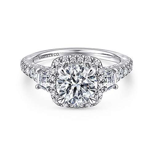 Gabriel - Verline 18k White Gold Round Halo Engagement Ring