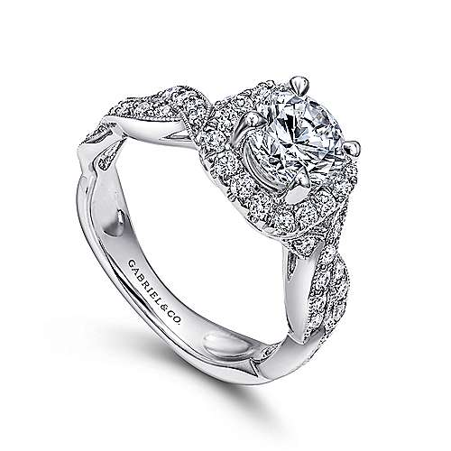 Verona 18k White Gold Round Halo Engagement Ring angle 3