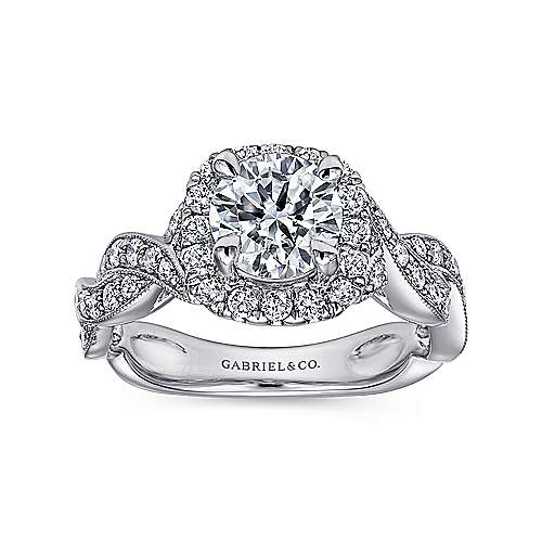 Verona 18k White Gold Round Halo Engagement Ring angle 5