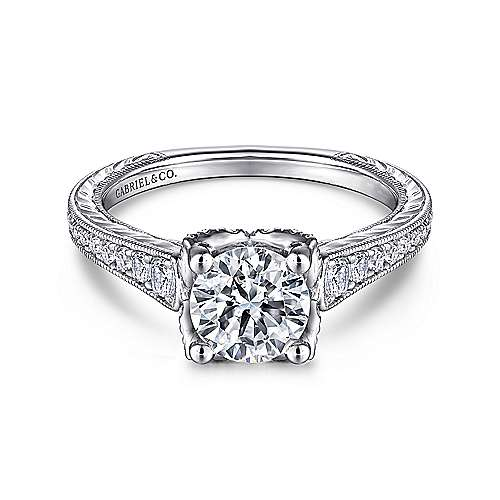 Gabriel - Veronica 14k White Gold Round Straight Engagement Ring