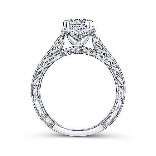 Veronica 14k White Gold Round Straight Engagement Ring angle 2