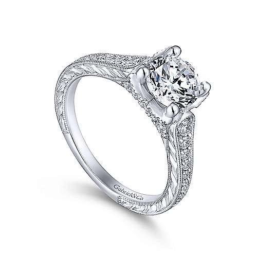 Veronica 14k White Gold Round Straight Engagement Ring angle 3