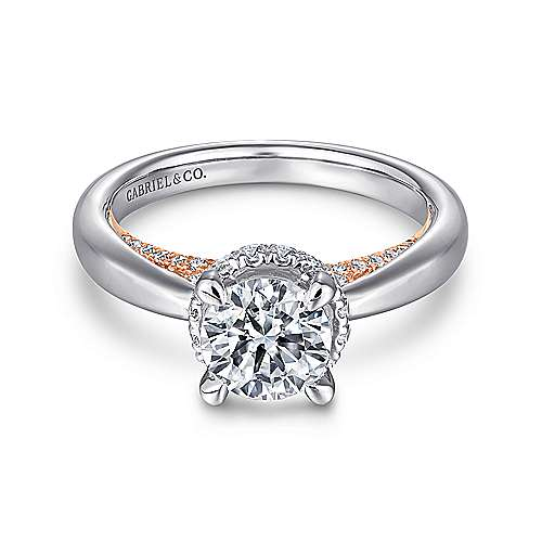 Victoria 14k White And Rose Gold Round Straight Engagement Ring angle 1