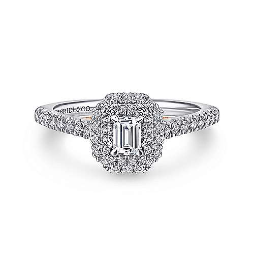 Victory 14k White And Rose Gold Emerald Cut Double Halo Engagement Ring angle 1