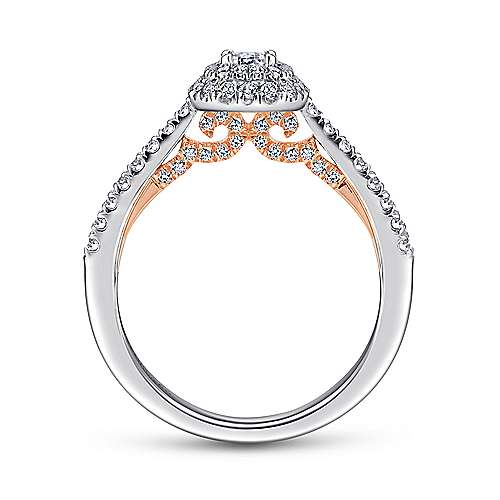 Victory 14k White And Rose Gold Emerald Cut Double Halo Engagement Ring angle 2