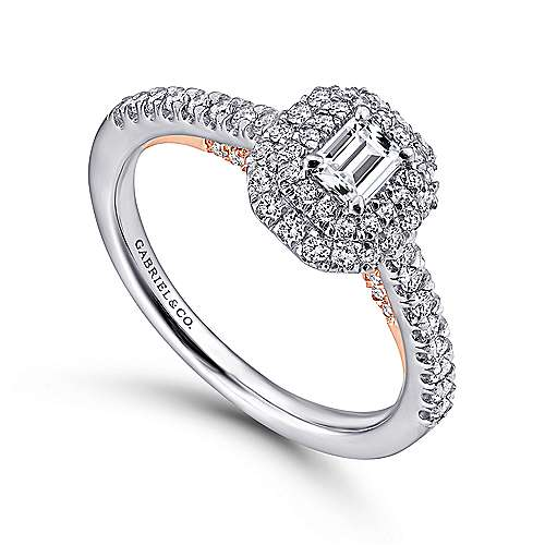 Victory 14k White And Rose Gold Emerald Cut Double Halo Engagement Ring angle 3