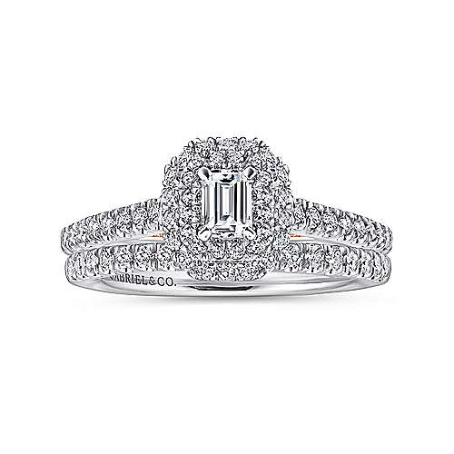 Victory 14k White And Rose Gold Emerald Cut Double Halo Engagement Ring angle 4