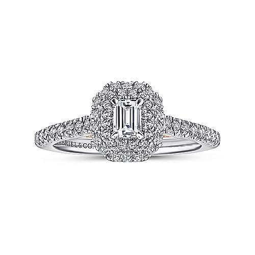 Victory 14k White And Rose Gold Emerald Cut Double Halo Engagement Ring angle 5