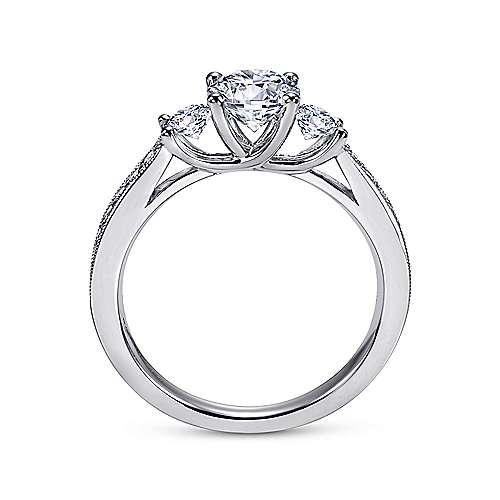 Vida 14k White Gold Round 3 Stones Engagement Ring angle 2