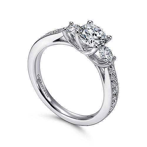 Vida 14k White Gold Round 3 Stones Engagement Ring angle 3
