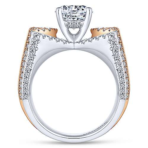 Villa 14k White And Rose Gold Round Split Shank Engagement Ring angle 2