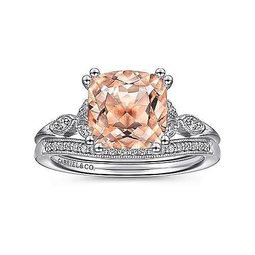 Vintage 14K Rose Gold Cushion Cut Morganite and Diamond Engagement Ring