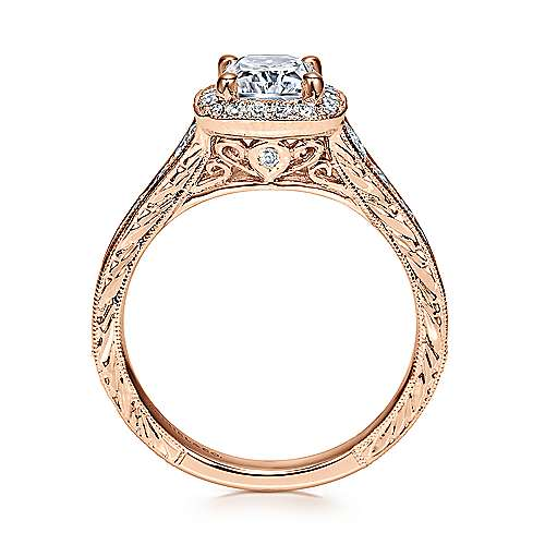 Vintage 14K Rose Gold Cushion Halo Diamond Engagement Ring