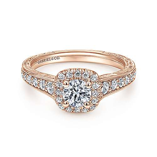 Gabriel - Vintage 14K Rose Gold Cushion Halo Round Diamond Engagement Ring