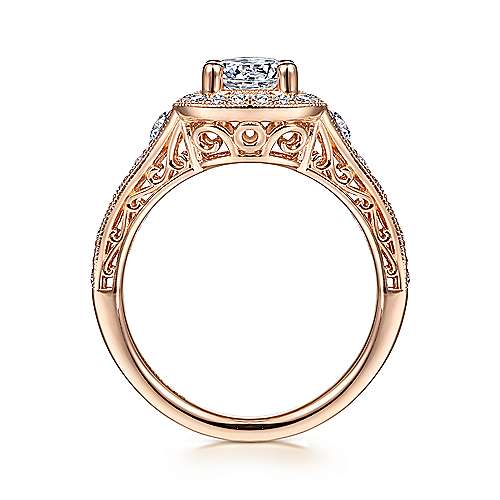 Vintage 14K Rose Gold Cushion Halo Round Diamond Engagement Ring