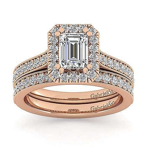 Vintage 14K Rose Gold Emerald Halo Diamond Engagement Ring